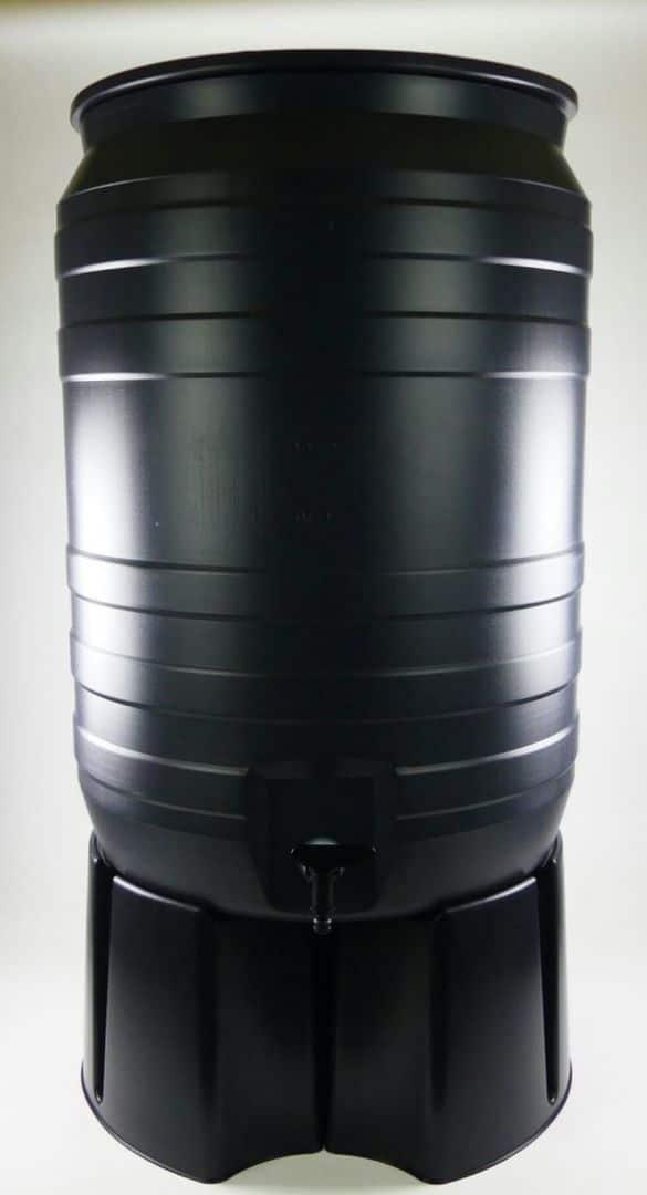 Grijze 180 liter regenton met zwarte voet