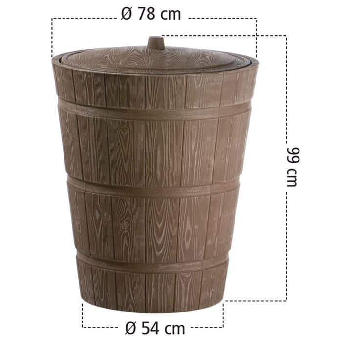 Afmetingen 275 liter regenton hout