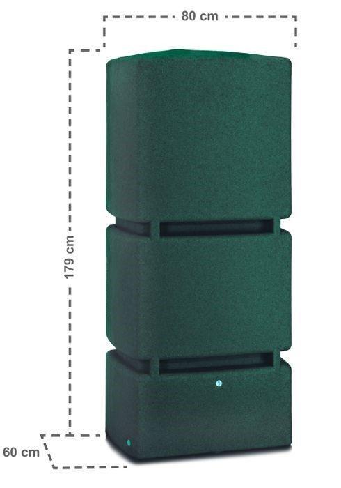 Afmetingen 800 liter regenton groen