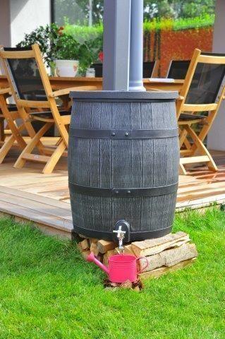 Grijze houten regenton 120 liter