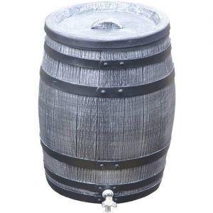Grijze houten regenton 50 liter