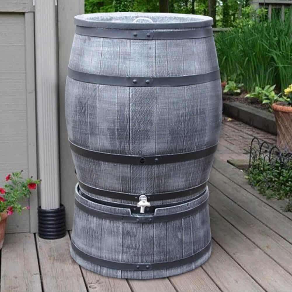 Grijze houten wijnvat regenton 240 liter