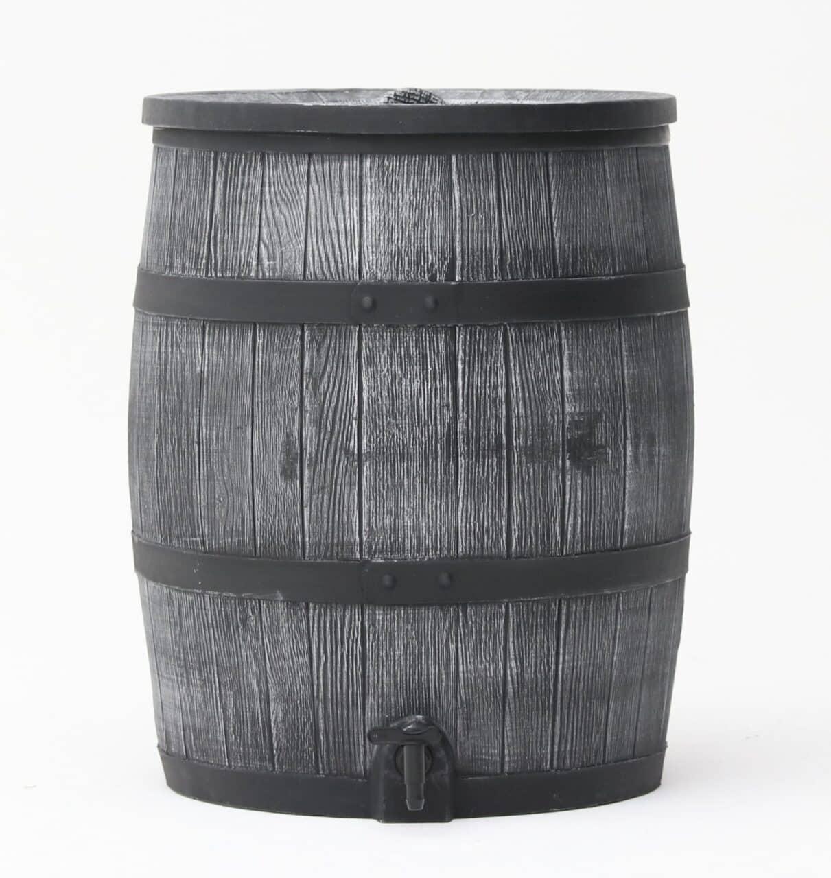 Grijze houtlook regenton 120 liter