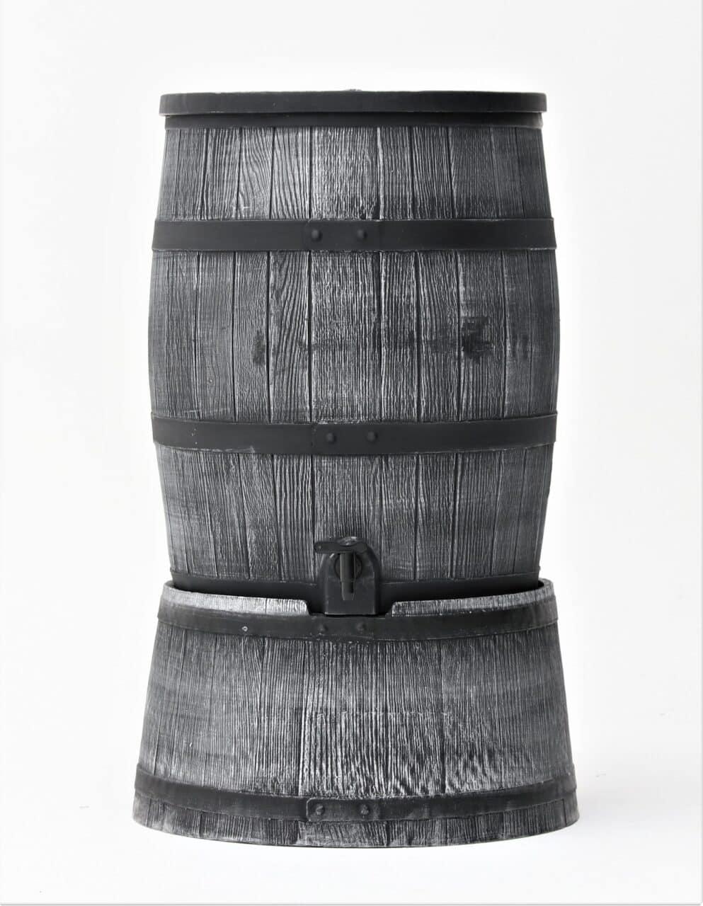 Grijze houtlook regenton op voet 120 liter