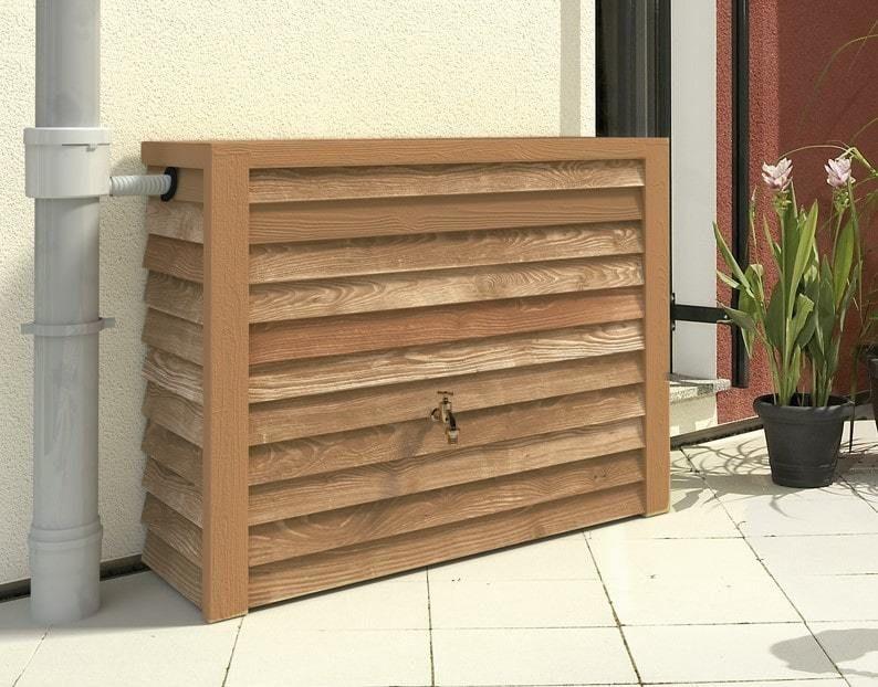 Muur regenton 350 liter blank hout
