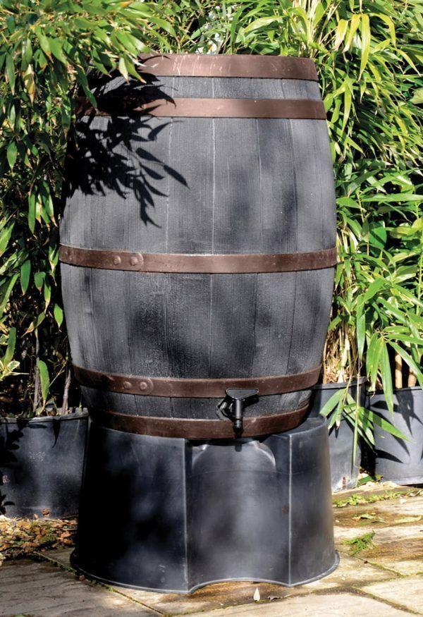 Zwarte houtlook regenton 235 liter