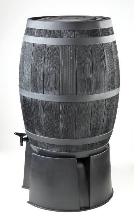 Zwarte houten regenton 235 liter op voet