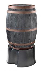 Zwarte houtlook regenton met koperen banden
